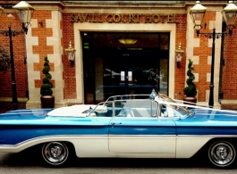 Classic American wedding car for hire in Egham